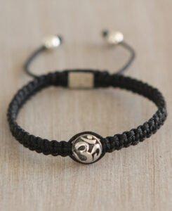 Adjustable Black Cord Om Bracelet with Sterling Silver