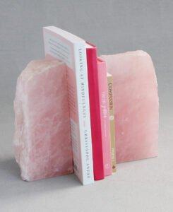 Solid Rose Quartz Gemstone Bookends