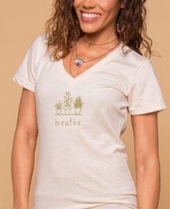 Women's V-Neck Succulent Tee, Breathe