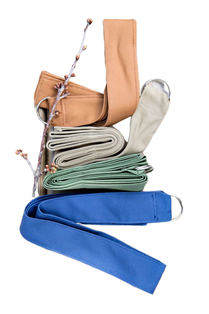 a set of colorful yoga straps