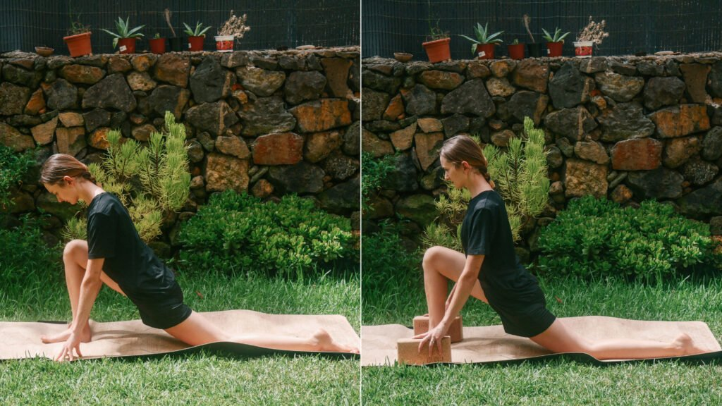 low lunge with and without blocks